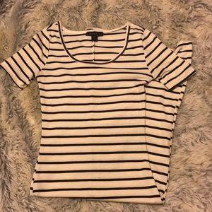 Striped Cap Sleeve Dress w/ Front Split